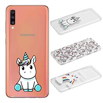 [3 Pack] Funda para Samsung Galaxy A70, Weideworld 3D Patrón Flexible Ultra Slim TPU Silicona Back Carcasa Funda para Samsung Galaxy A70, Unicornio