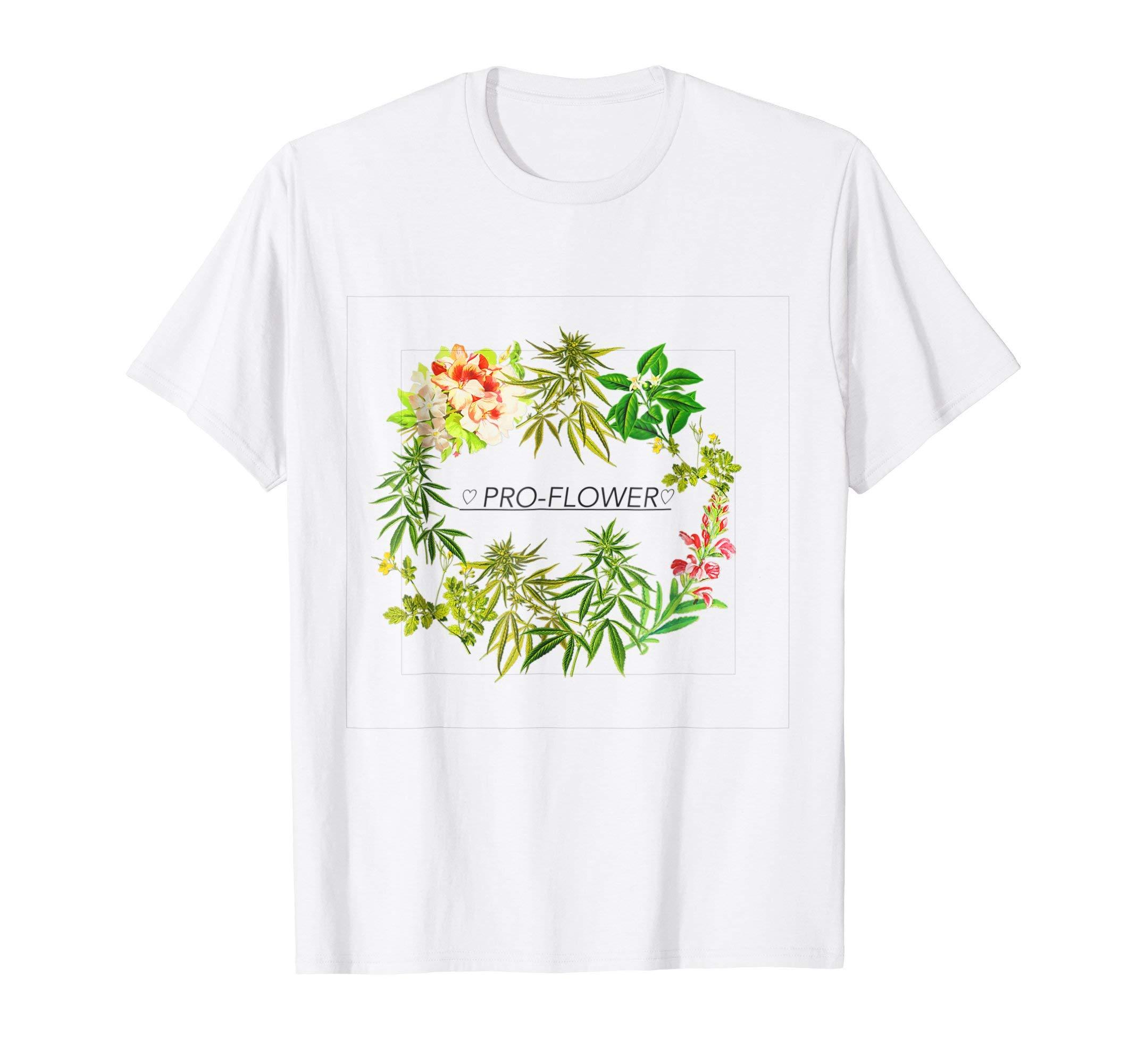 PRO-FLOWER Aesthetic Cannabis Floral Print T-Shirt