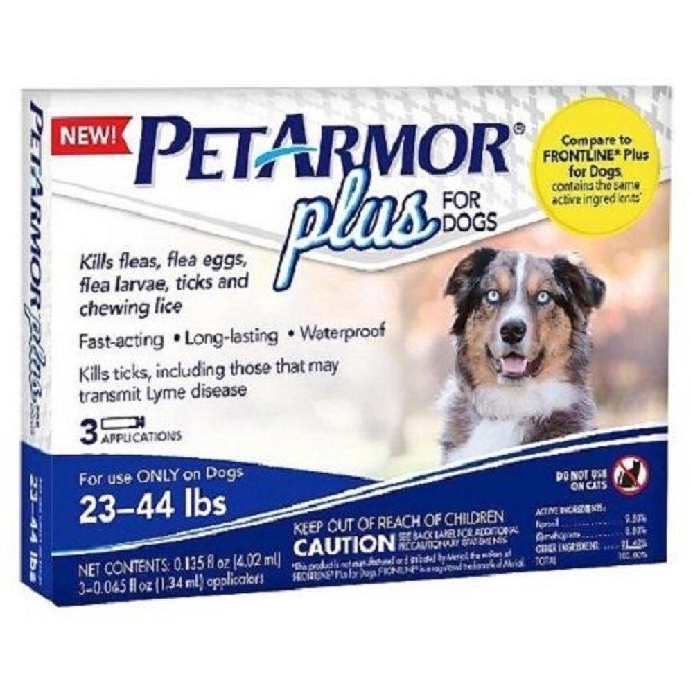PetArmor Plus For Dogs Flea Tick Repellent 23-44 LBS 4 Applications
