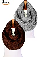 Basico Women Winter Chunky Knitted Infinity Scarf Warm Circle Loop Various Colors