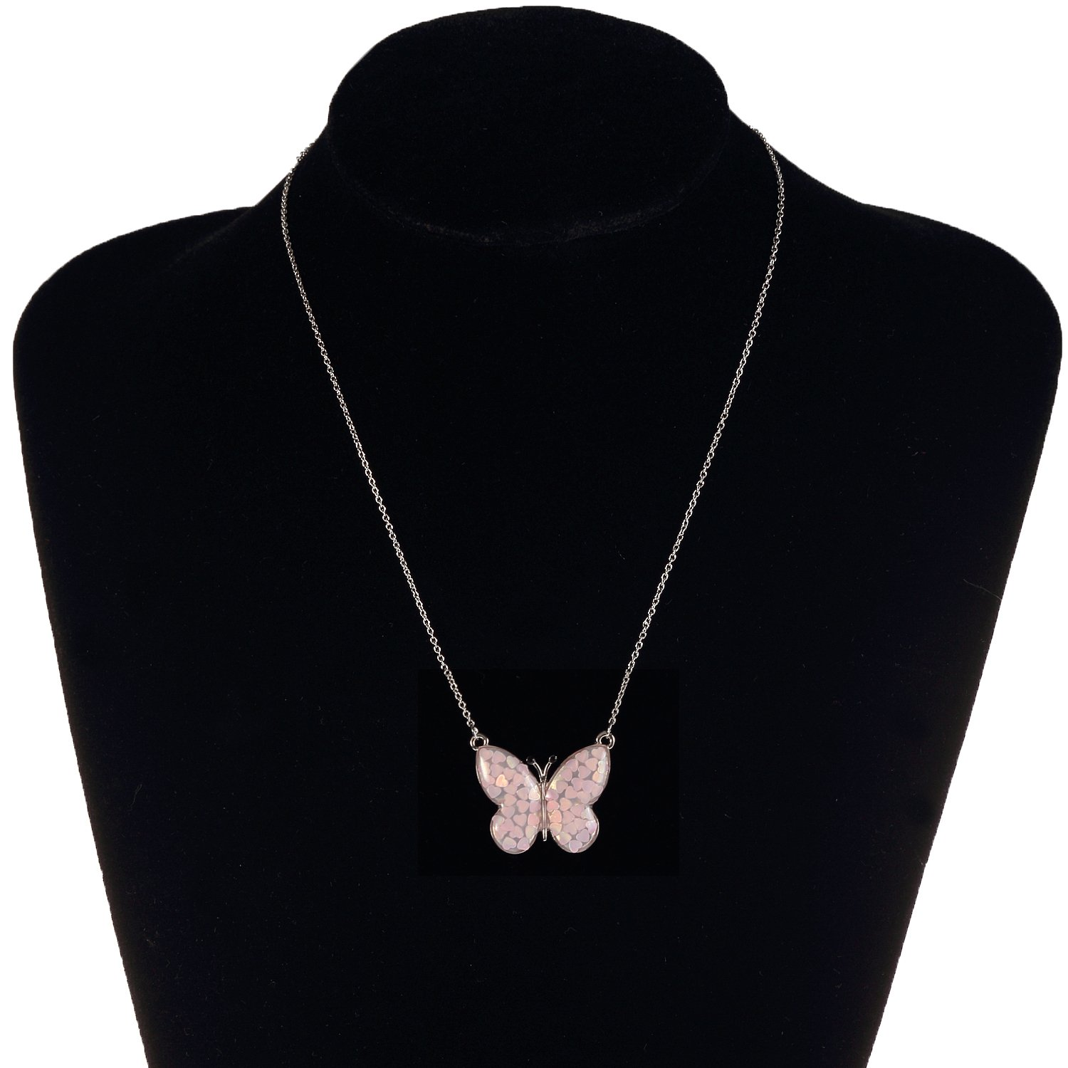 Lemonage Butterfly Necklaces for Girls Kids with Stunning Alloy Pendant Necklace, Children 3+ (Pink) by Lemonage (Image #2)