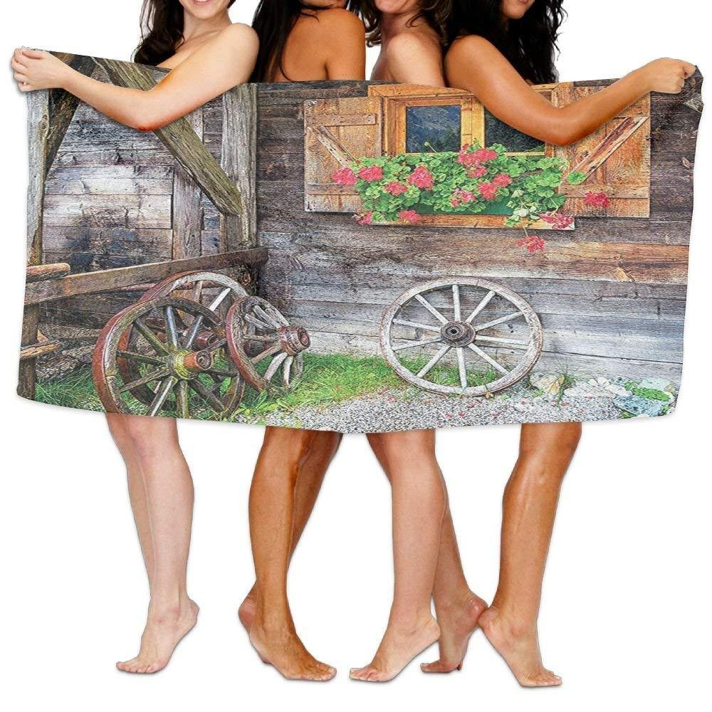 rigchosea Wxf Shutters Weathered Old Window with Flowers in Pot wheels Farmhouse Rural Scene Front View Soft Absorbent Beach Towel Pool Towel 30x50