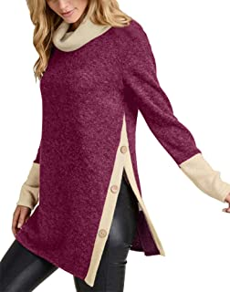 Yingkis Women s Cold Shoulder Tops Long Sleeve Deep V-Neck Wrap Front Blouse  Loose Pullover 40c5d5705