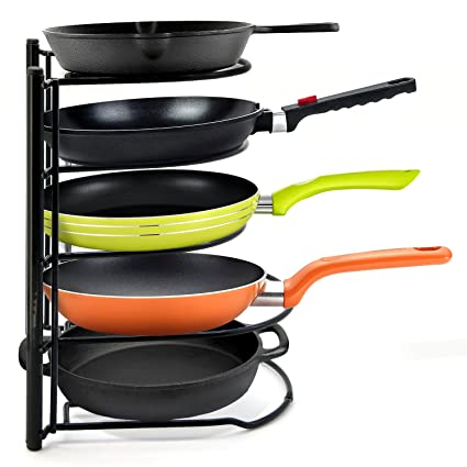 5 Tier Heavy Duty Pot Pan Organizer Pot Racks Cookware Lids Holder For Cabinet Worktop Storage Kitchen Pot Lid Organizer Rack Bottom Tier For Larger
