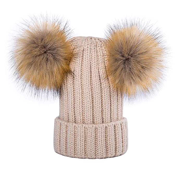ed08309a3 Kids Faux Raccoon Fur Ball Pompom Ears Winter Bobble Hat Knitted Double Pom  Cap Kids Beanie Hat(Ages 3-12)