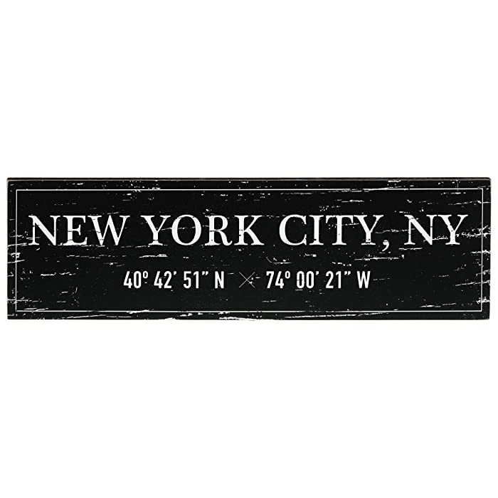 "Barnyard Designs New York City Sign Rustic Vintage Wood Wall Art Home Decor 17"" x 5"""