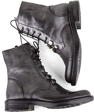 bottines a lacets grise femme