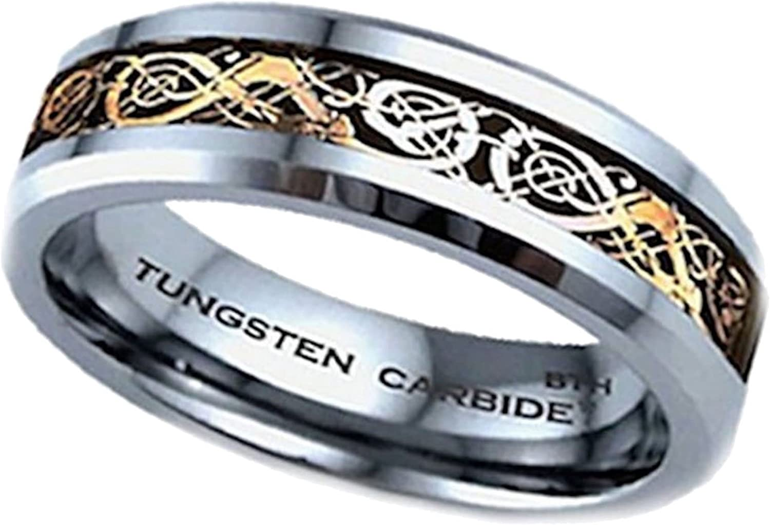 BestToHave Mens Black Celtic Dragon Inlay Tungsten Carbide Comfort Fit Wedding Band Ring