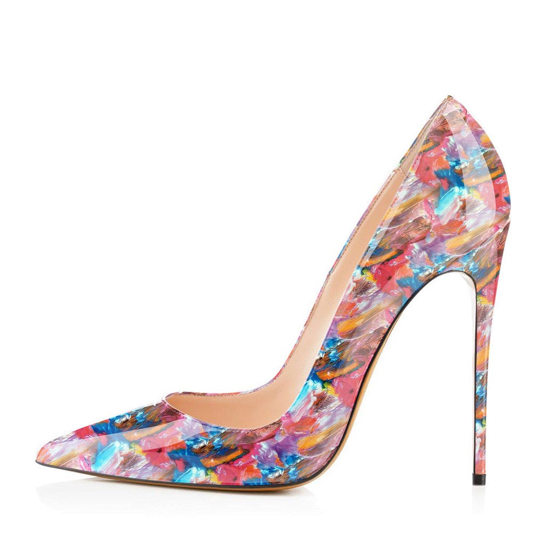 FSJ Women Fashion High Heel Stilettos Pointed Toe Pumps Evening Dress Printed Shoes Size 4-15 US B07DR6YJBS 13 B(M) US|Pink Multi