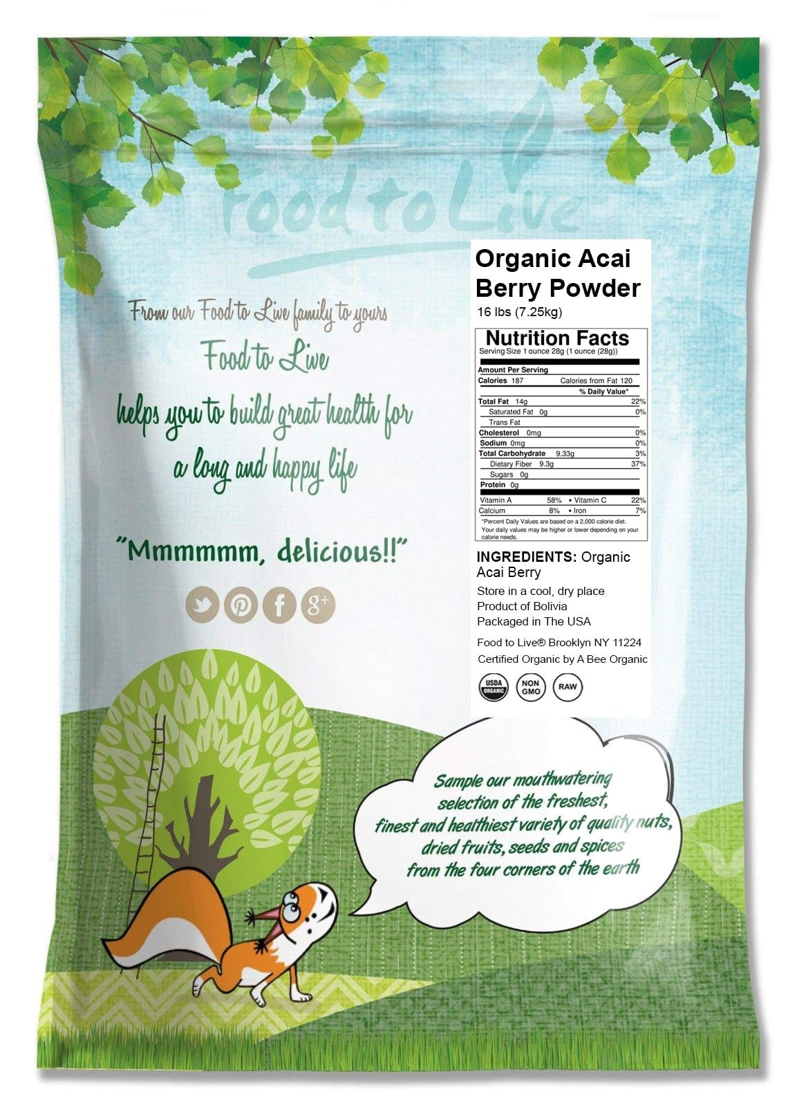 Organic Acai Berry Powder by Food to Live (Non-GMO, Raw, Vegan, Freeze-Dried, Unsweetened, Unsulfured, Bulk) — 16 Pounds by Food to Live (Image #2)