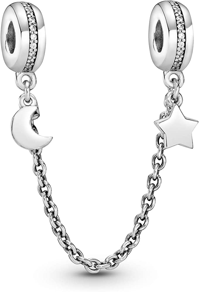 Pandora Jewelry Half Moon and Star Safety Chain Cubic Zirconia Charm in  Sterling Silver, 2.0