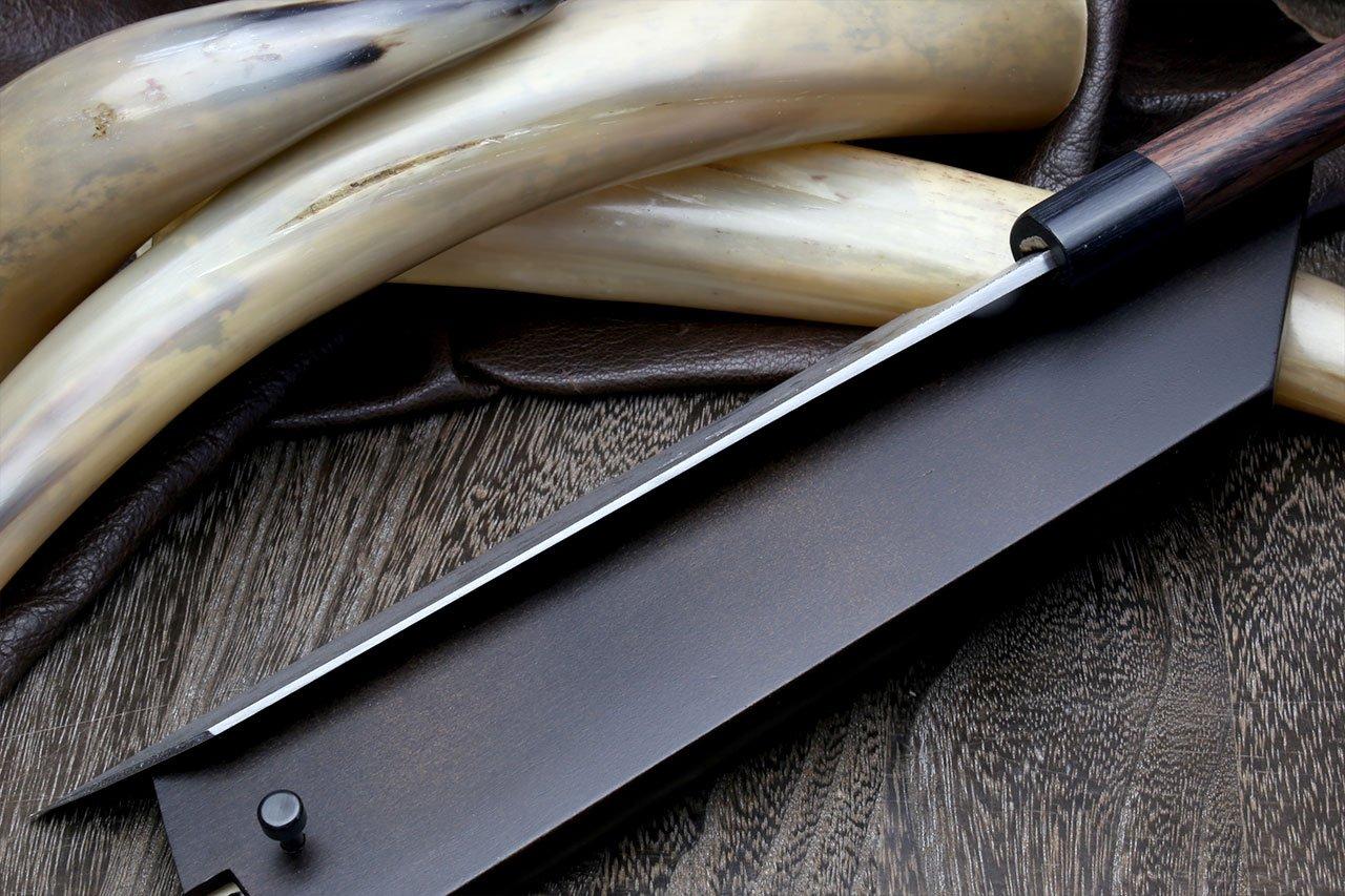 Yoshihiro Mizu Yaki 16 Layers Suminagashi Blue Steel #1 Kiritsuke Multipurpose Japanese Chef Knife, Shitan rosewood Handle (8.25 IN) with Nuri Saya Cover by Yoshihiro (Image #5)