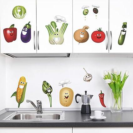 decalmile Komisch Mais Chili Gemüse Elfen Wandsticker Herausnehmbar DIY wandtattoo Wandaufkleber Für Küche Esszimmer