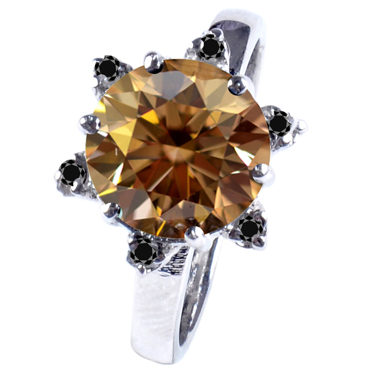 RINGJEWEL 2.82 ct VS1 Round Moissanite Solitaire Engagement Silver Plated Ring Brown Color Size 7