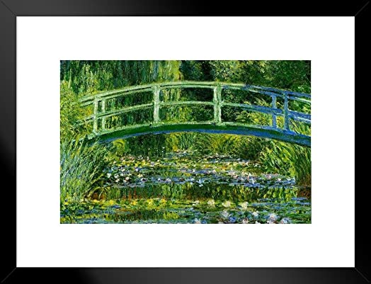 Poster Foundry Claude Monet Water Lilies and Japanese Bridge Matted Framed Wall Art Print 26×20