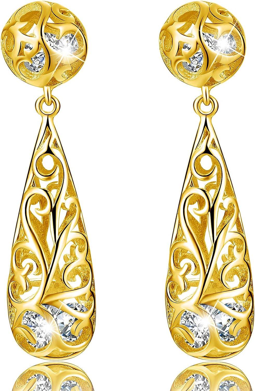 18k Yellow Gold and Sterling Silver Filigree Teardrop Dangle Earrings