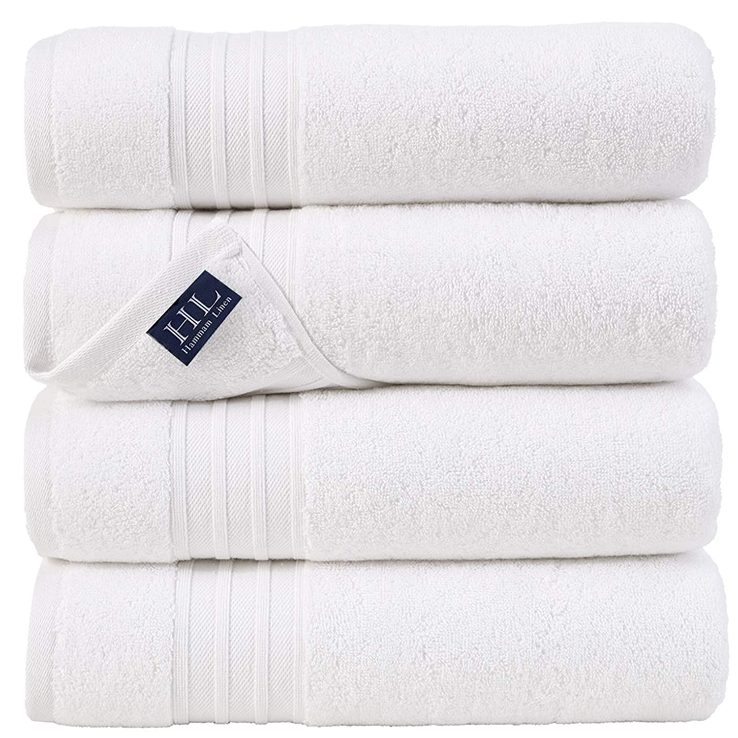 Hammam Linen Milas Collections Ultra Soft Turkish Bath Towels - (27 x 54 inches) - 4 Pieces Towel Set - 100% Cotton Towels White