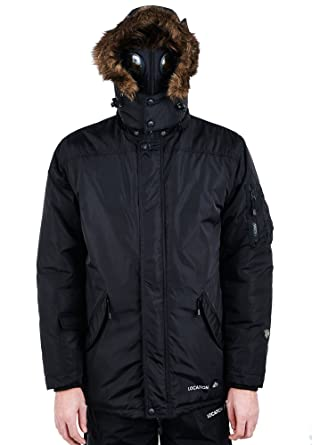 59befb71d2e17 Location Mens Military Parka Jacket Waterproof Quilted Padded Goggle Coat  XXL