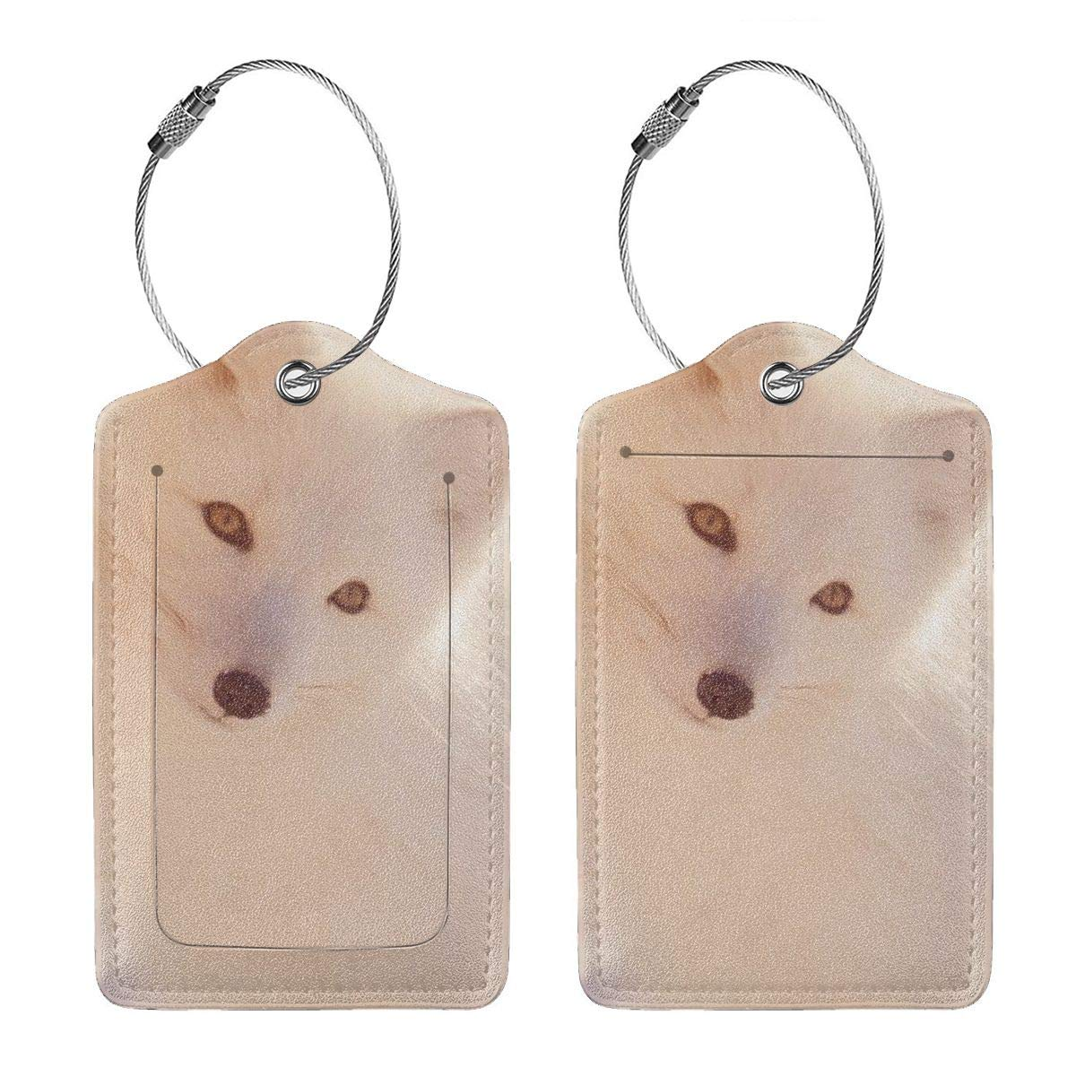Winter Fox White Leather Luggage Tags Suitcase Tag Travel Bag Labels With Privacy Cover For Men Women 2 Pack 4 Pack