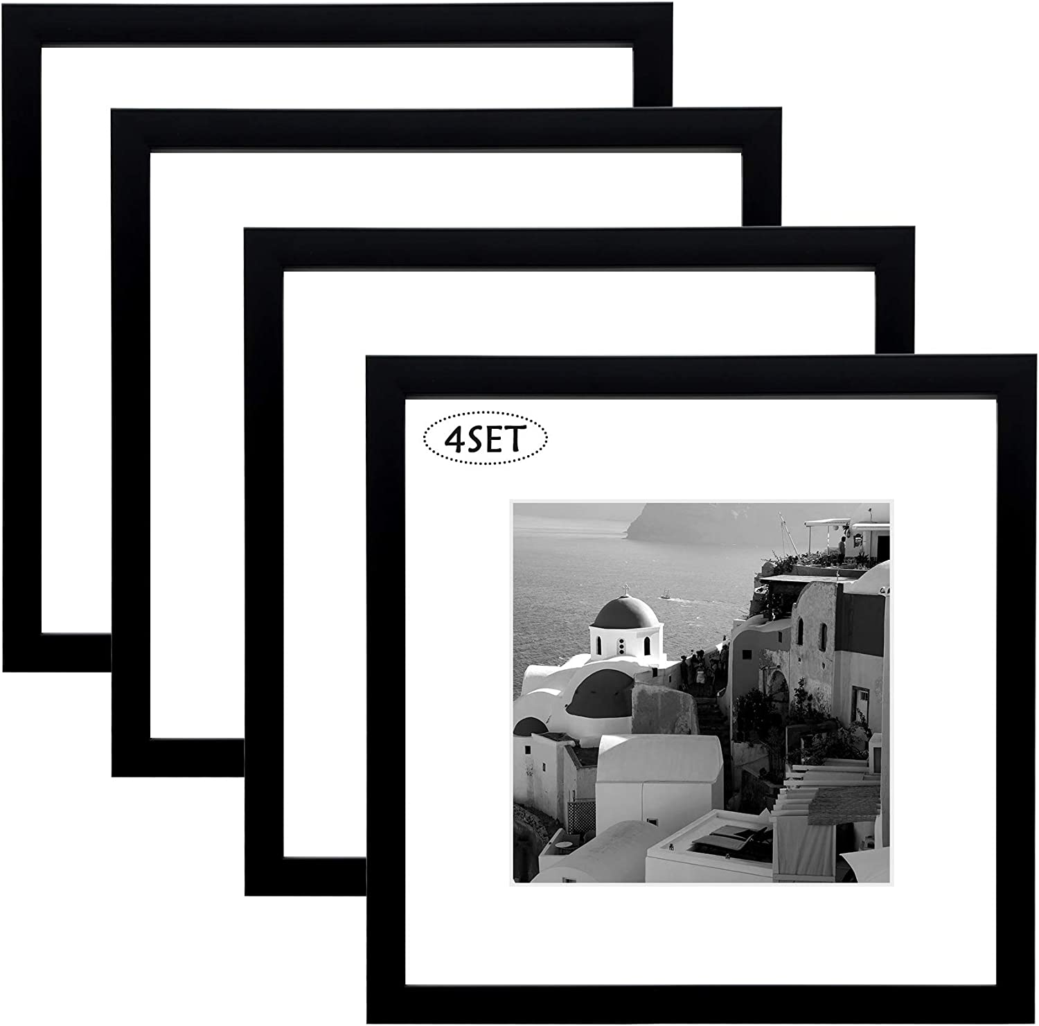 12x12 Black Picture Frame White Mat Craig Frames Opening for 8x8 Print 4-Pack
