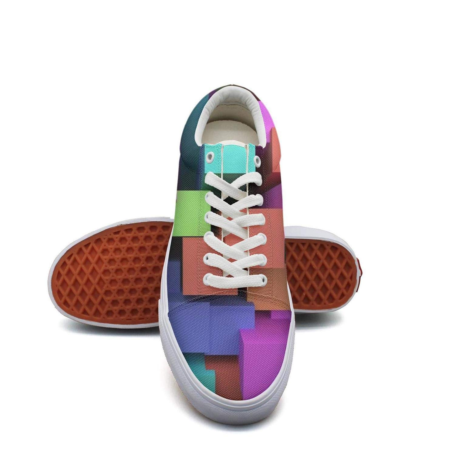 Ouxioaz Womens Canvas Casual Shoes Colorful Cubes in Cubes lace-up Running Shoes