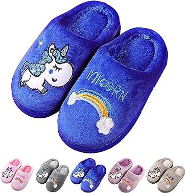 Knemksplanet Kids Unicorn Slippers Household Anti-Slip Fuzzy Warm Shoes Indoor Home House Slippers for Girls Boys