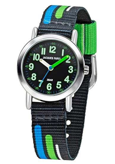 Jacques Farel Joven Reloj plástico Band negro azul verde metal Joven cuarzo Analog KPS 403