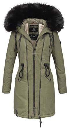 Navahoo warme damen winter jacke parka lang mantel