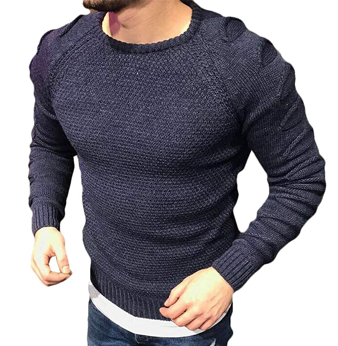 XiaoTianXinMen XTX Mens Slim Fit Crew Neck Thicken Long Sleeve Solid Pullover Hole Sweater