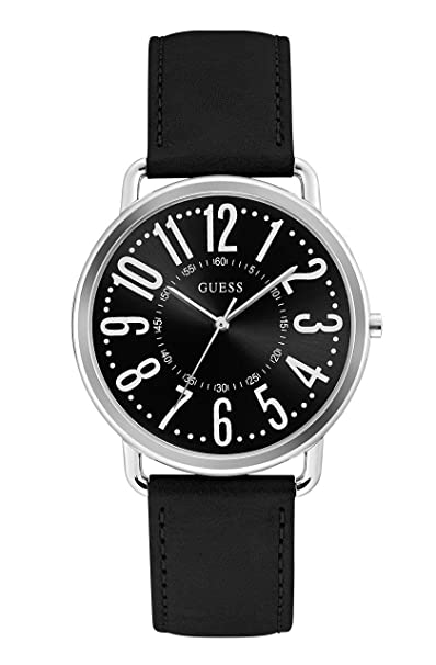 Amazon.com: Guess Kennedy Black Dial Leather Strap Ladies Watch W1068L3: Watches