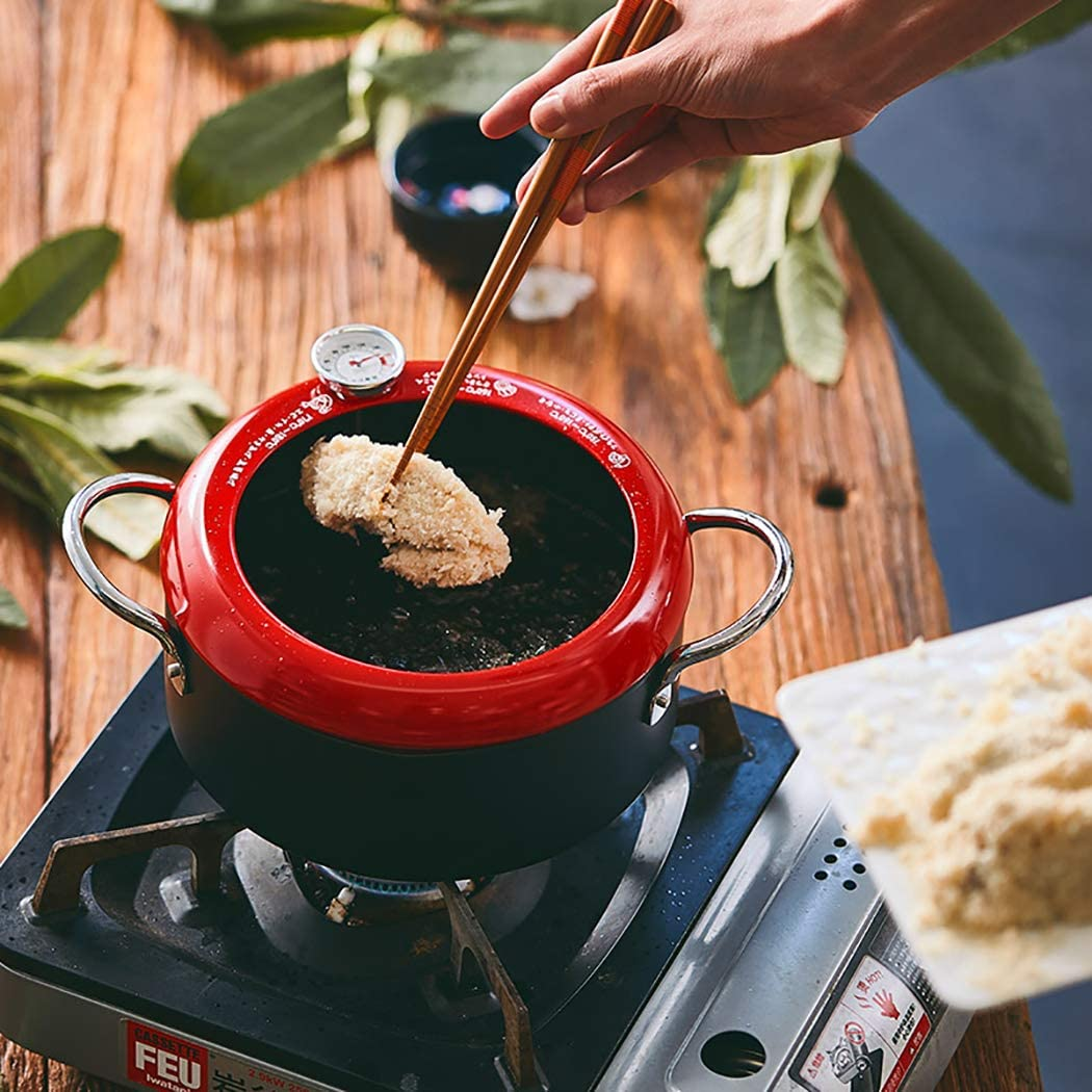 Red 20CM Tempura Fryer Non-Stick Pan Fryer Frying Pot Fryer Sauce Pan Nonstick Cookware General Cooking Tools