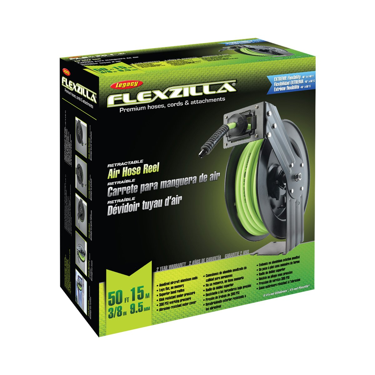 Flexzilla Open Face Retractable Air Hose Reel, 3/8 in. x 50 ft., Heavy Duty, Lightweight, Hybrid, ZillaGreen - L8611FZ by Flexzilla (Image #2)