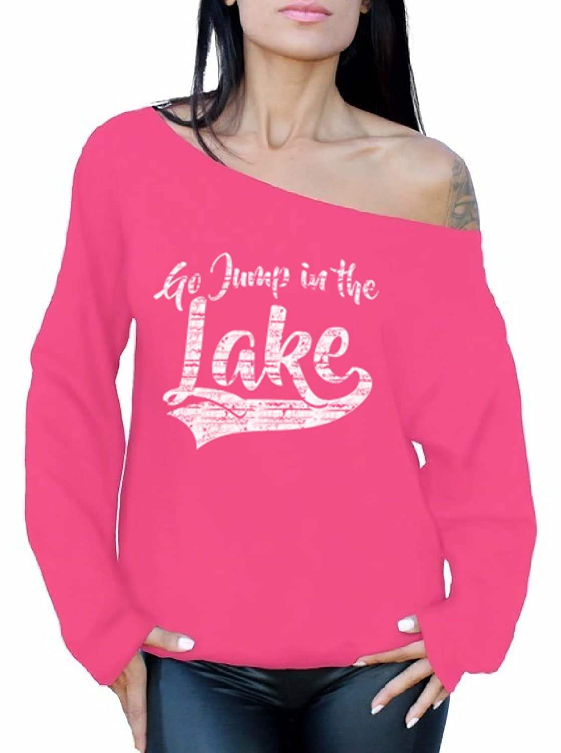 Awkward Styles Womens Go Jump in The Lake Hilarious Off The Shoulder Tops for Women Sweatshirts White