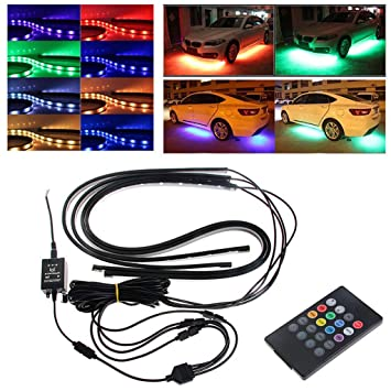 Amazon com: Car Chassis Light, RGB LED Strip Under Car Tube