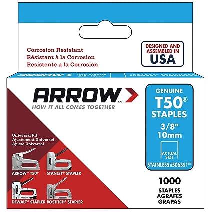1,000-Pack Arrow Fastener 506SS1 Genuine T50 Stainless Steel 3//8-Inch Staples