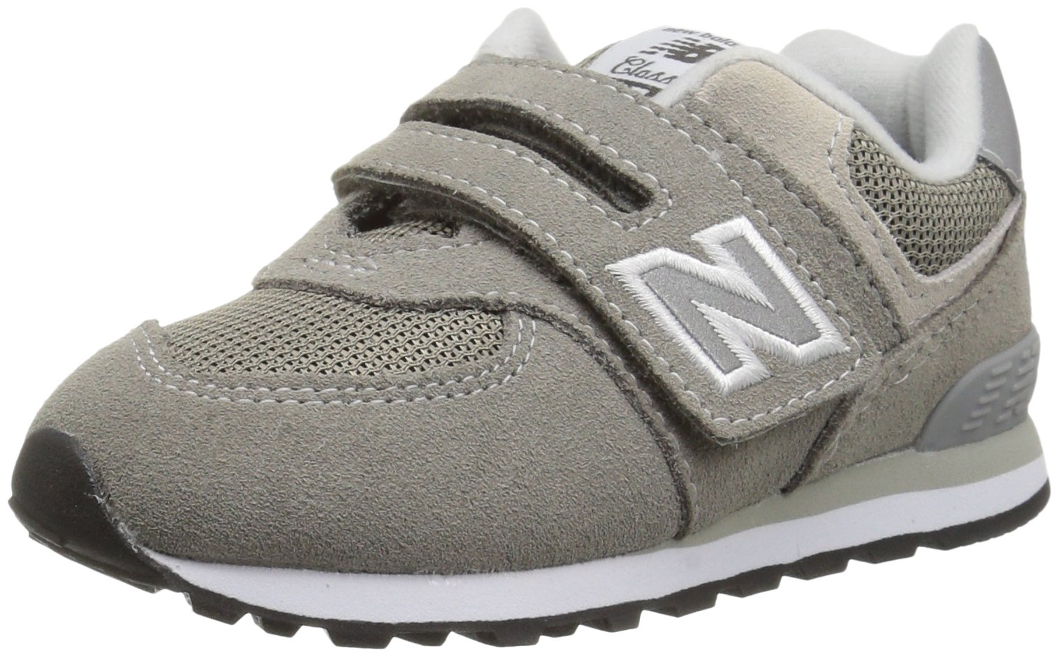 New Balance Boys' 574v1 Essentials Hook and Loop Sneaker,  Grey/Grey, 8 M US Toddler