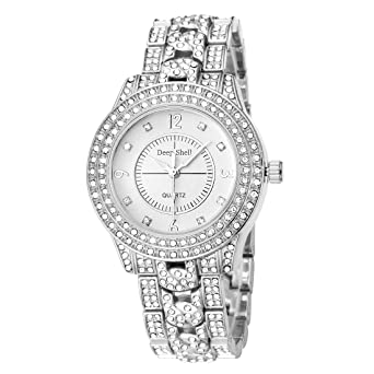 Amazon.com  Luxury Iced Out Watch Crystal Rhinestone Bling Golden ... 6f3a1efe67