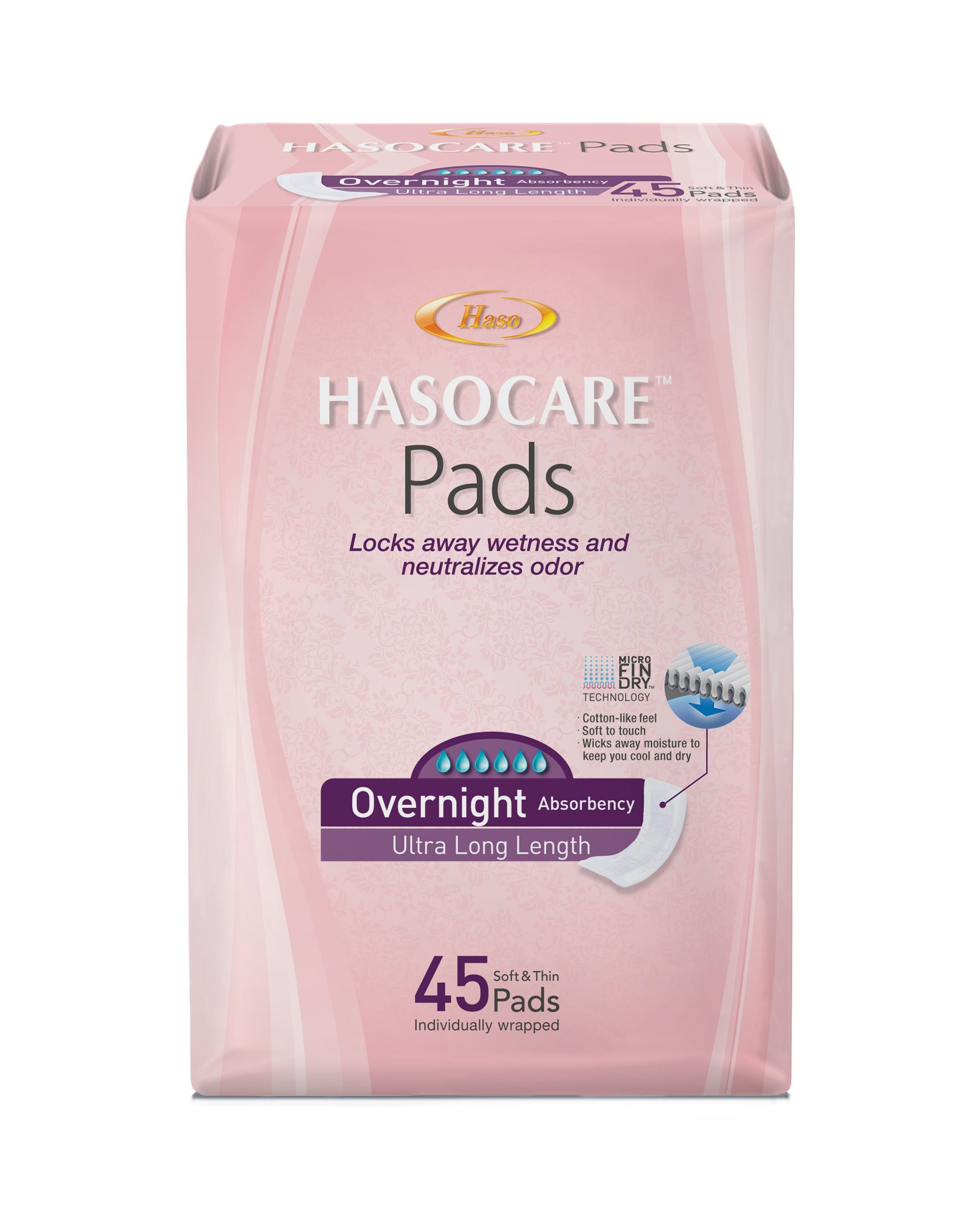 HASOCARE Incontinence Pads (Extra Wide, Extra Thin) For Women, Overnight Absorbency , Ultra Long Length, 45 Count
