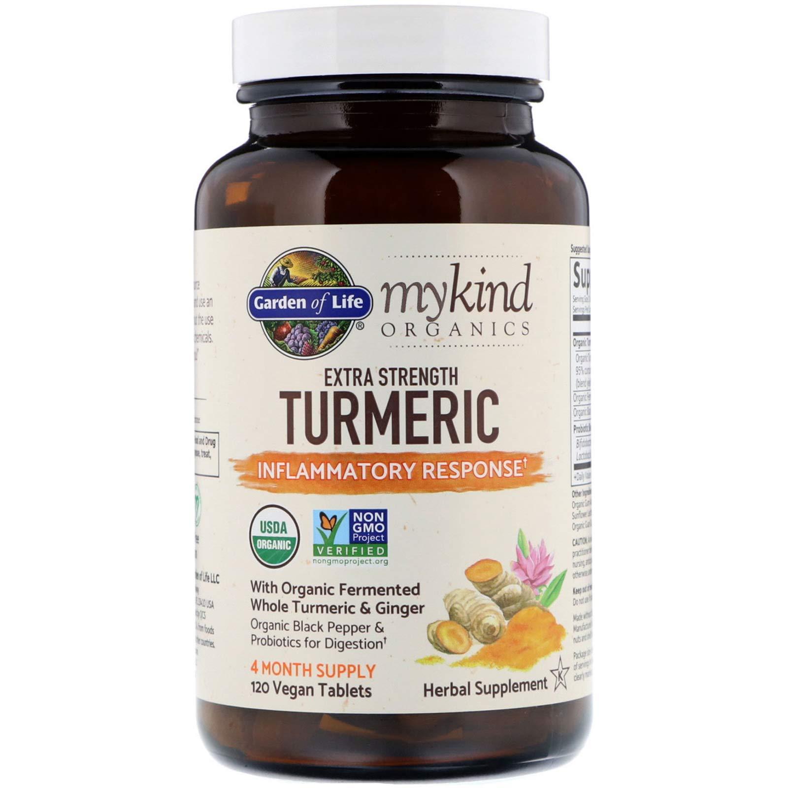 Garden of Life, MyKind Organics, Extra Strength Turmeric, Inflammatory Response, 120 Vegan Tablets