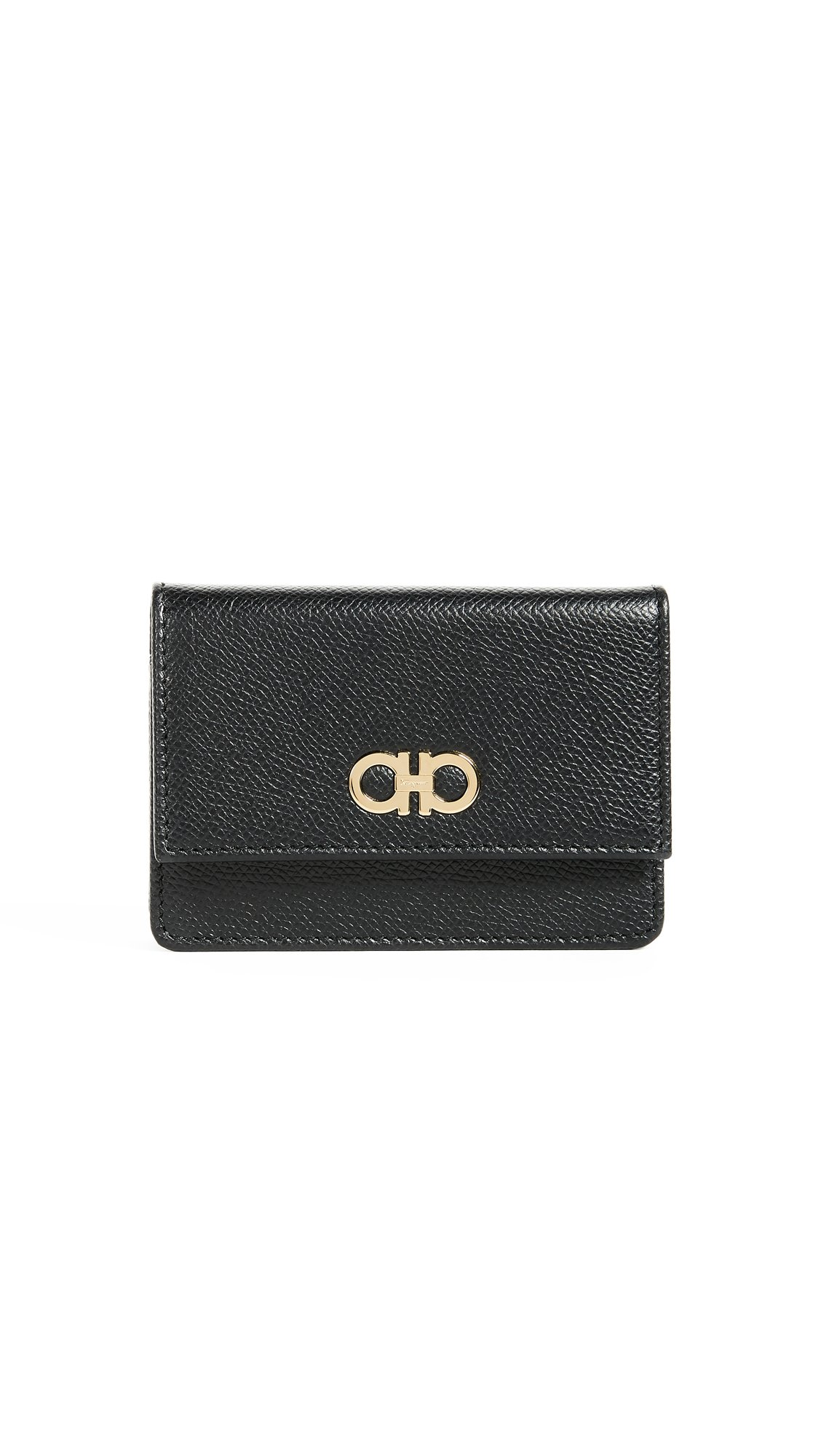 Salvatore Ferragamo Women's Gancini Card Case, Nero, One Size