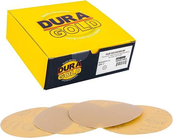 "Premium Gold 5/"" 8 Hole Gold Sanding Discs  Hook /& Loop 320 Grit 50 Discs"