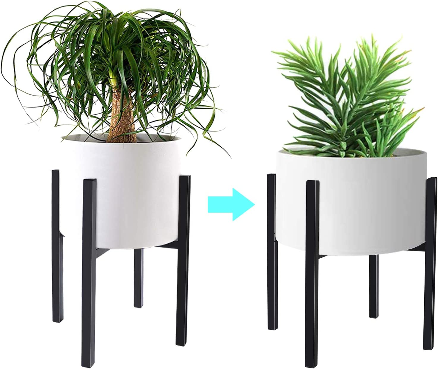 Adjustable Plant Stand Metal Flower Holder, Mid Century Stable & Stylish Display Plant Pot Stand for Indoor & Outdoor, Fits 8 to 14 Inch Pots.