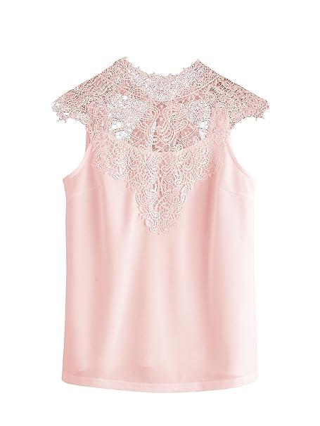 562a4fbc818 SheIn Women's Plain Lace Yoke Tie Open Back Sleeveless Blouse Top at Amazon  Women's Clothing store: