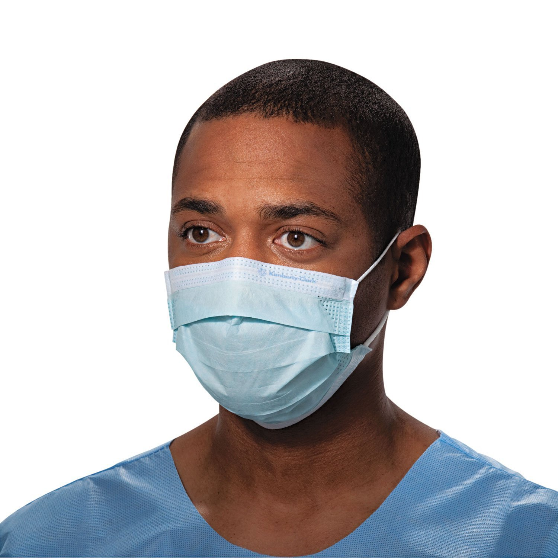 Halyard Health Tecnol Procedure Mask/Pleat/Earloops GOfNtV, Blue,(47080), 50 Count (5 Pack)