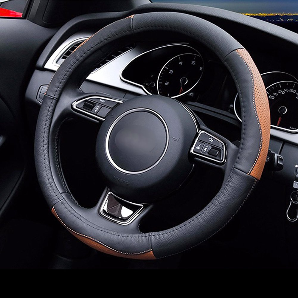 LOCEN Genuine Leather Car Steering Wheel Cover - A STYLE - Black with Brown (Outer Diameter 35CM-36CM)