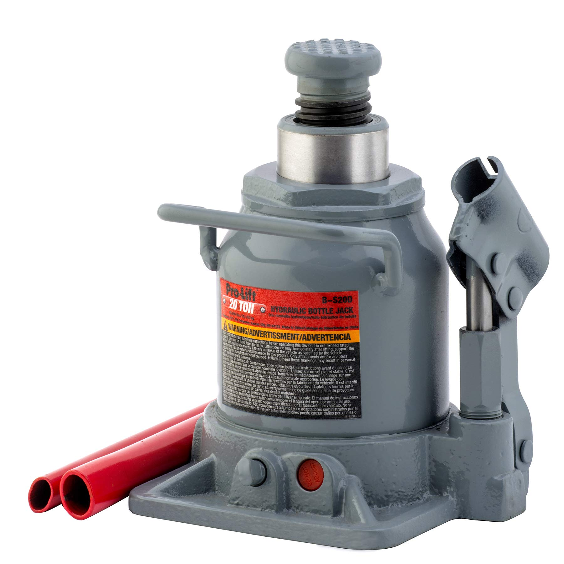 Pro-LifT B-S20D Grey Hydraulic Bottle Jack - 20 Ton Capacity by Pro-LifT