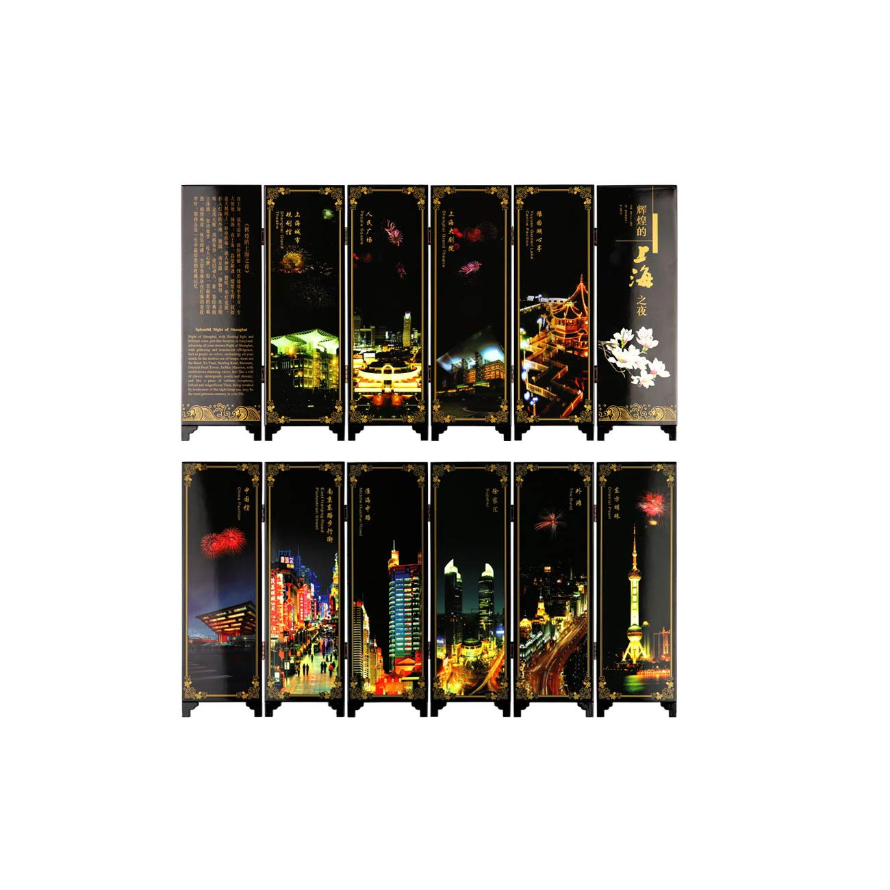 Mini Folding Screen Table Screen China antique Shanghai lacquer personality ornament vintage wood decoration room divider
