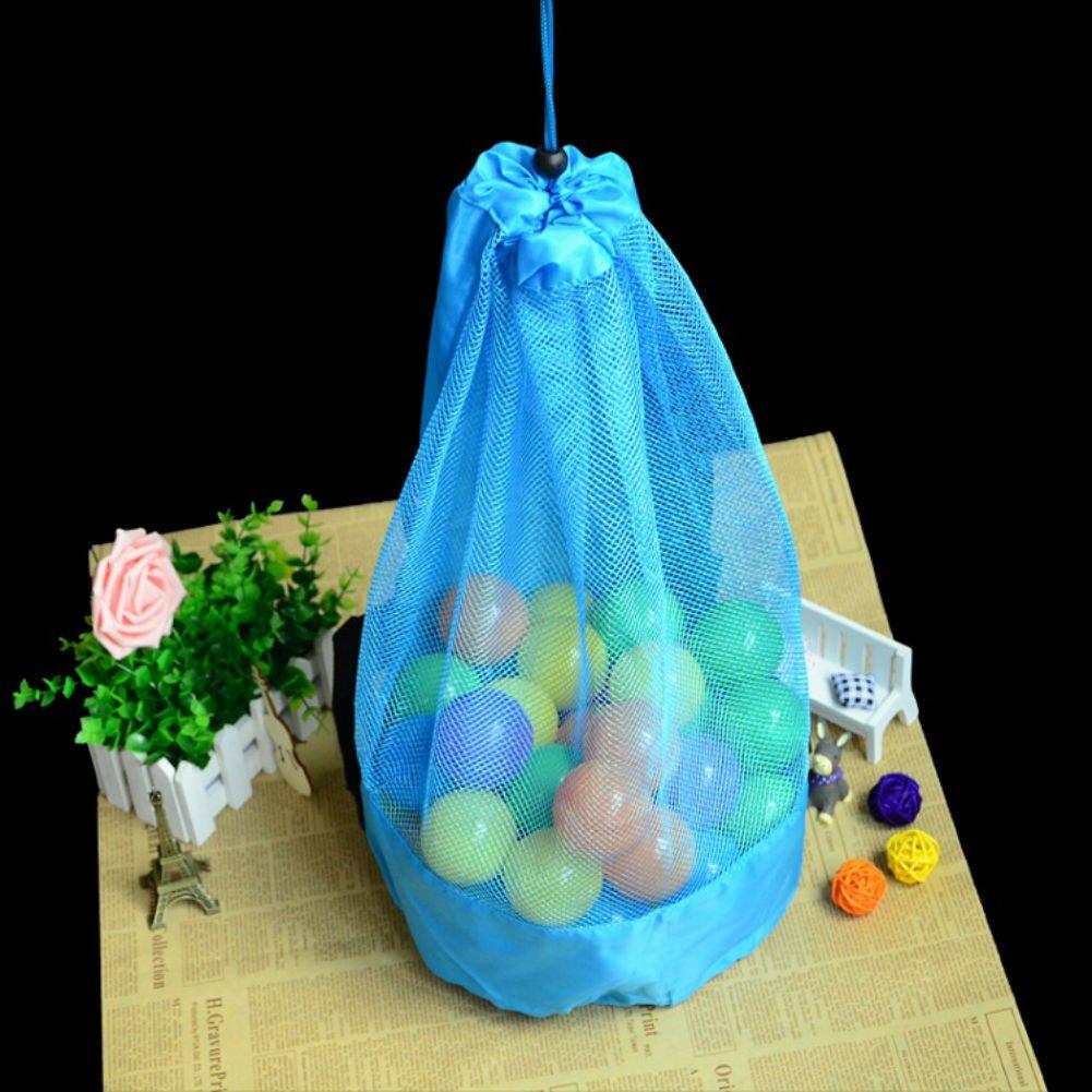 Mesh Beach Bag, Ocean ball storage bag, Large capacity Mesh Bag Tote Durable Sand Away Drawstring Beach Swim and Pool Toys Storage Bags , (Sky Blue)