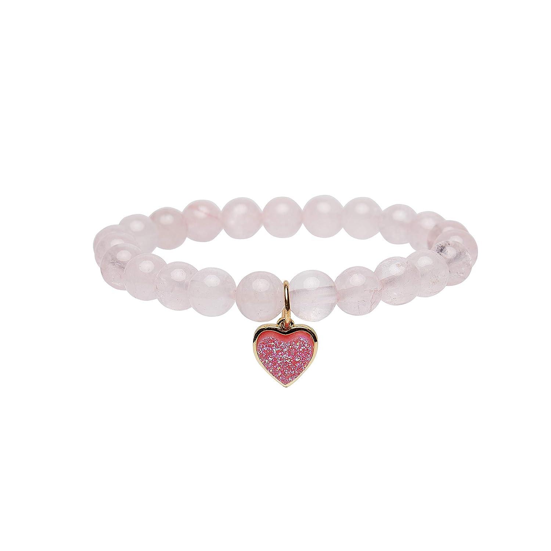 Bivei Women Gem Semi Precious Gemstone 8mm Round Beads Bracelet Heart Charm Crystal Jewelry anbivi11122031