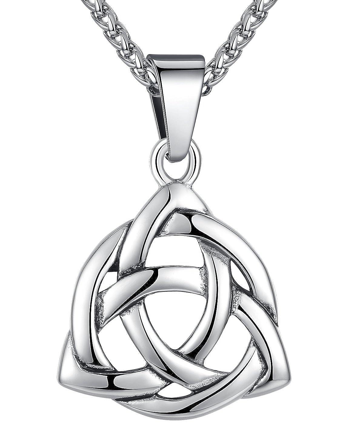 nudo celta Aoiy triquetra irland/és Unisexo cadena de 61cm Collar con colgante de acero inoxidable aap126